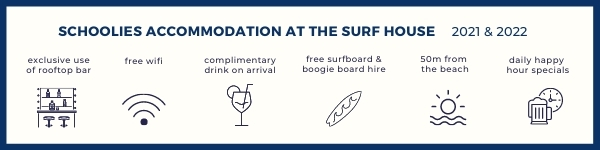 Stay at The Surf House Byron Bay for your Schoolies week in Byron Bay!